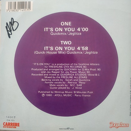 M.C. Sar & The Real McCoy – It's On You(45t) Vinyle